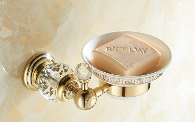Elegantný stojan na mydlo s miskou a kryštálom v dvoch farbách