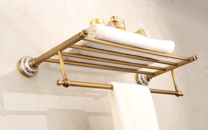 Elegantný stojan polica na uteráky v mosadznej farbe 1 670x420 - Elegantný stojan / polica na uteráky v mosadznej farbe