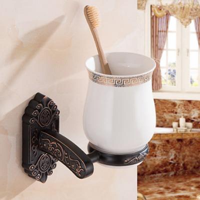 Elegantný stojan s pohárikom na zubné kefky v čiernej farbe