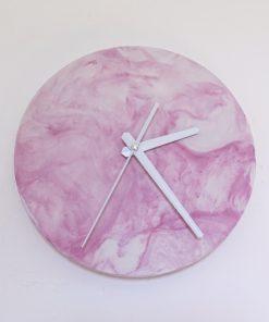 Ručne vyrobené nástenné hodiny - Pink marble mini
