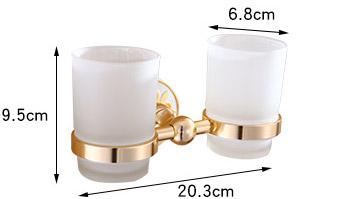 Jednoduchý dvojitý stojan s pohárikmi na zubné kefky v zlatej farbe . - Jednoduchý dvojitý stojan s pohárikmi na zubné kefky v zlatej farbe