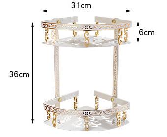 Luxusná dvojpolička do sprchy v zlato bielej farbe 1 - Luxusná dvojpolička do sprchy v zlato-bielej farbe