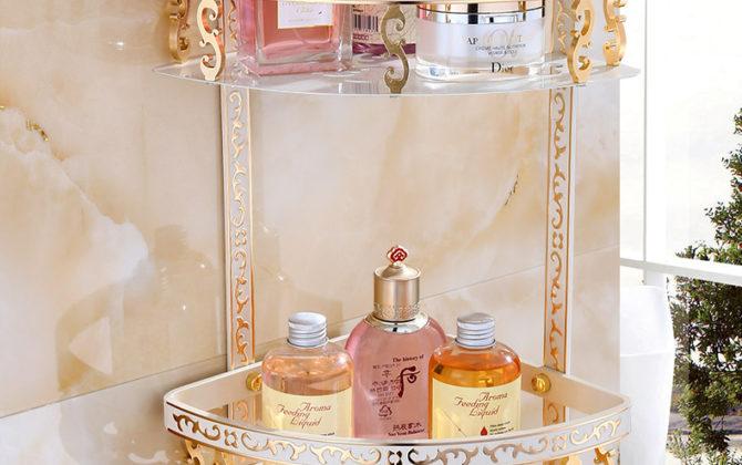 Luxusná dvojpolička do sprchy v zlato-bielej farbe