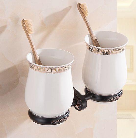 Luxusný dvojitý stojan s pohárikmi na zubné kefky v čiernej farbe