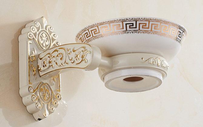 Luxusný nástenný držiak na mydlo v bielej farbe držiak miska 670x420 - Luxusný nástenný držiak na mydlo v bielej farbe, držiak + miska