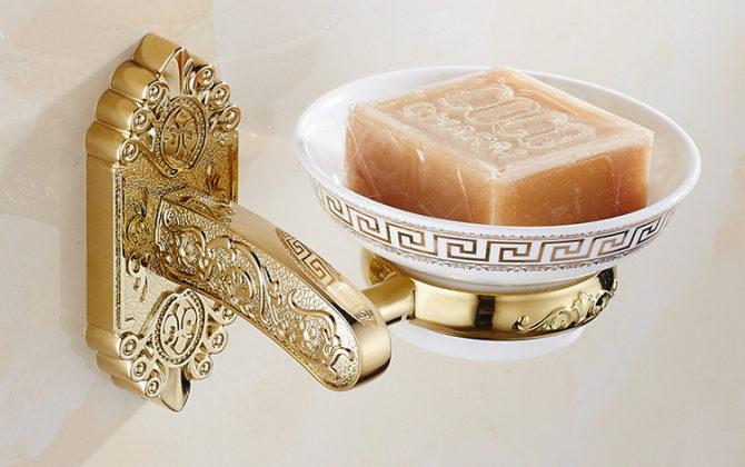 Luxusný nástenný držiak na mydlo v zlatej farbe, držiak + miska