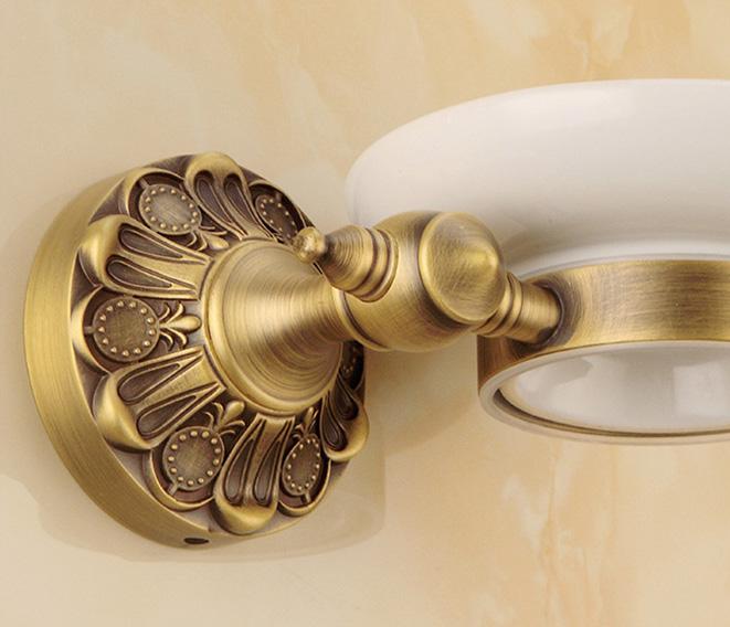 Luxusný staromosadzný stojan s miskou na mydlo 1 1 - Luxusný staromosadzný stojan s miskou na mydlo