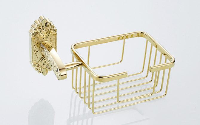 Starožitný prepracovaný držiak na toaletný papier v zlatej farbe