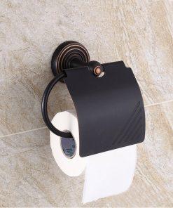 Vintage mosadzný držiak na toaletný papier v čiernej farbe