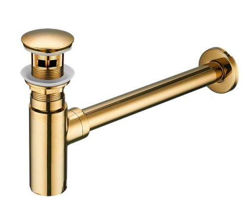 Umývadlová výpusť a sifón v zlatom prevedení - bez prepadu aj s prepadom (Kópia)