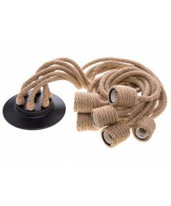 Dekoračný lanový luster v historickom štýle, šesť pätíc
