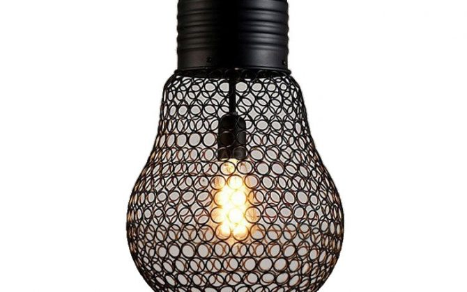 Závesné lanové svietidlo s čiernou klietkou v tvare žiarovky, 30cm (2)