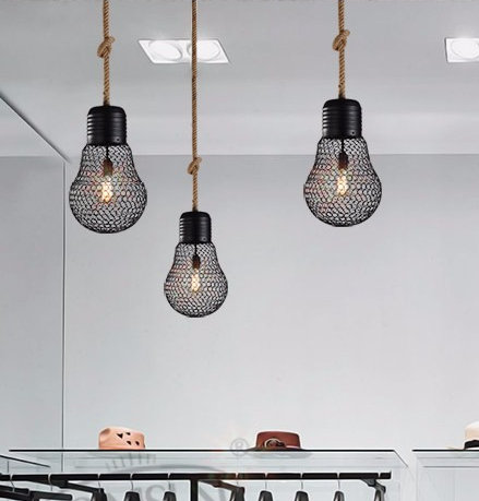 Závesné lanové svietidlo s čiernou klietkou v tvare žiarovky 30cm 3 - Závesné lanové svietidlo s čiernou klietkou v tvare žiarovky, 30cm