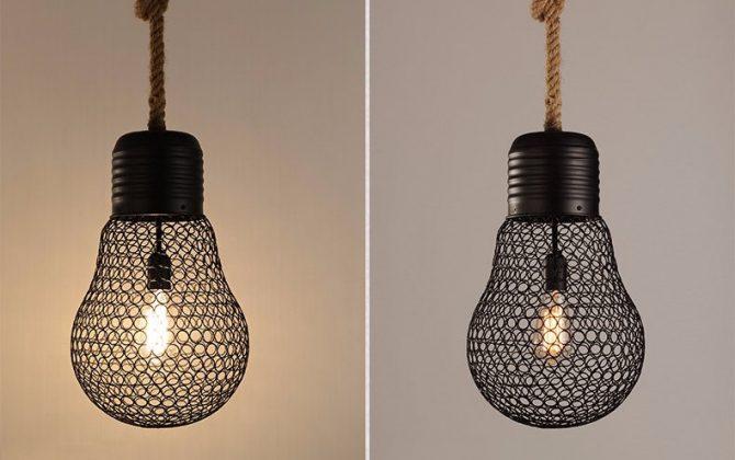 Závesné lanové svietidlo s čiernou klietkou v tvare žiarovky 30cm 5 670x420 - Závesné lanové svietidlo s čiernou klietkou v tvare žiarovky, 30cm