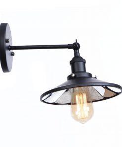 Zrkadlová Vintage nástenná lampa v čiernej farbe
