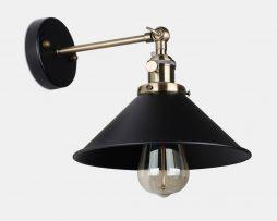 Historické nástenné svietidlo s tmavým tienidlom s otočným spínačom (6)