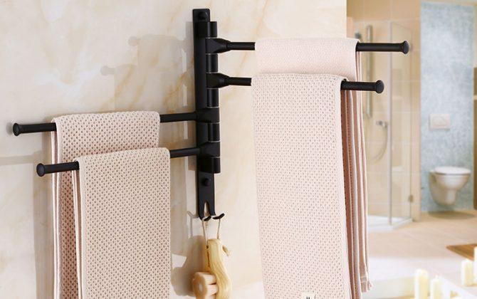 Čierny otočný vešiak na uteráky s rôznym počtom ramien