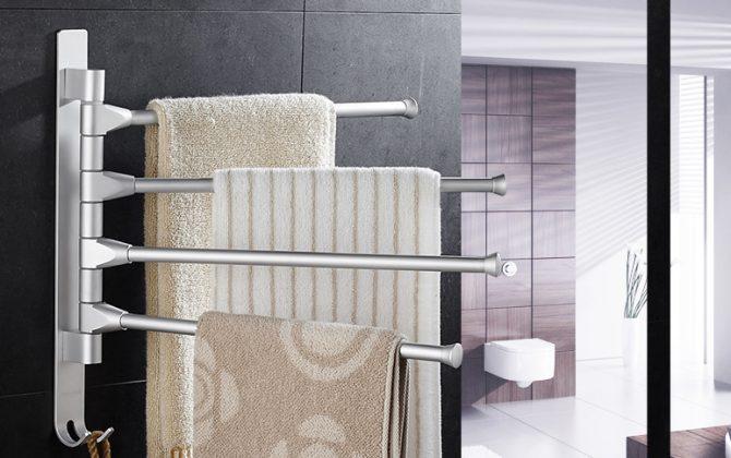 Kvalitný otočný vešiak na uteráky s rôznym počtom ramien