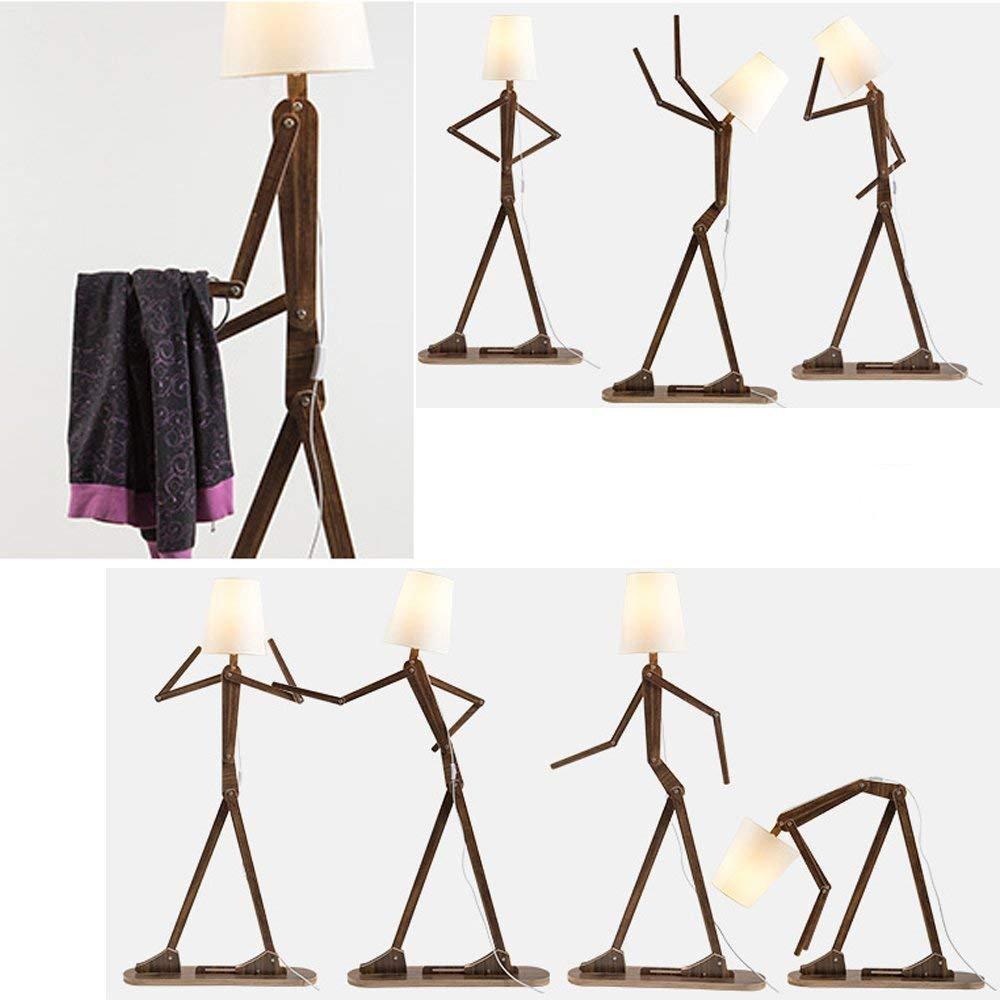 Jedná sa o štýlovú a kreatívnu dekoráciu z prírodného materiálu. - Kreatívne drevené podlahové svietidlo, polohovateľné, 160cm, prírodné drevo