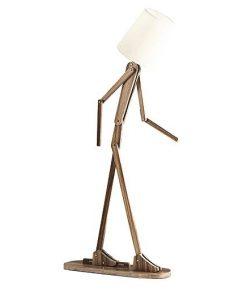 Kreatívne drevené podlahové svietidlo, polohovateľné, 160cm, tmavé drevo