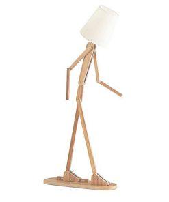 Kreatívne drevené stojacie svietidlo, polohovateľné, 160cm, prírodné drevo