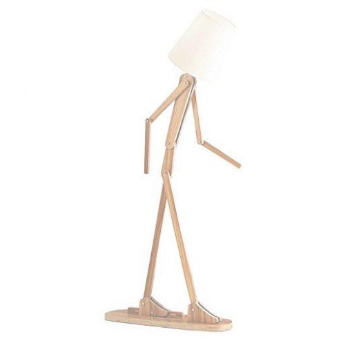 Kreatívne drevené stojacie svietidlo, polohovateľné, 160cm, svetlé drevo