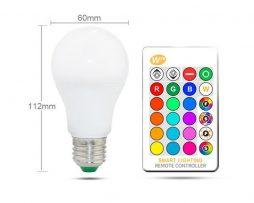 LED RGB žiarovka na diaľkové ovládanie, 16 funkcií, 10W, E27