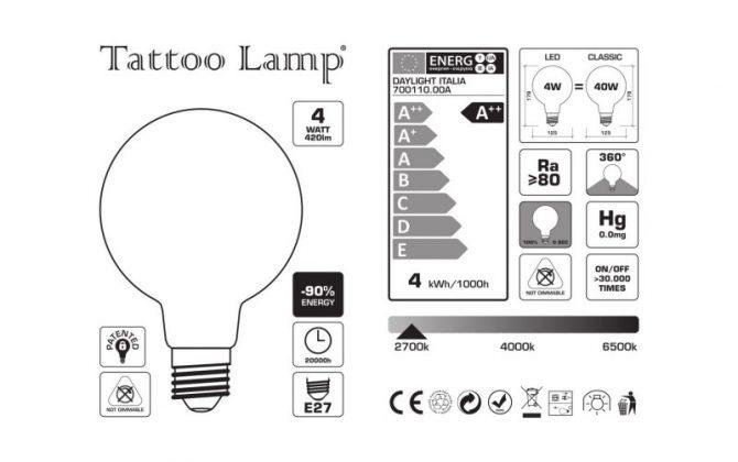 Tattoo Lamp® Žiarovky sú LED žiarovky ktoré podliehajú špeciálnemu matnému spracovaniu 670x420 - LED žiarovka Filament - Tattoo Lamp® Pio, 4W, E27, 420lm