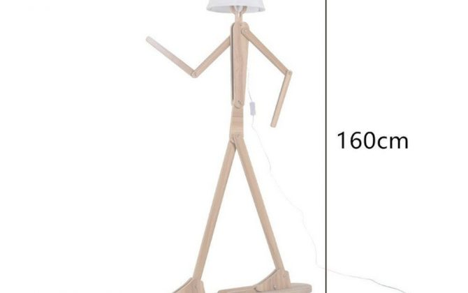 Tieto štýlové svietidlá budú originálnym umeleckým dielom vo Vašej domácnosti alebo v podniku 670x420 - Kreatívne drevené podlahové svietidlo, polohovateľné, 160cm, svetlé drevo