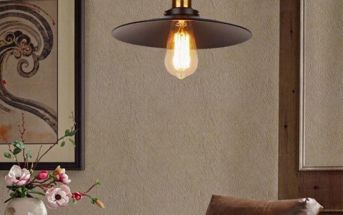 Historické závesné svietidlo s čiernym plytkým tienidlom 260mm pletený kábel 1 670x420 - Historické závesné svietidlo s čiernym plytkým tienidlom, 260mm, pletený kábel
