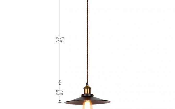 Historické závesné svietidlo s čiernym plytkým tienidlom 260mm pletený kábel 4 670x420 - Historické závesné svietidlo s čiernym plytkým tienidlom, 260mm, pletený kábel
