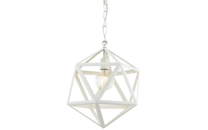 Kreatívne závesné svietidlo PETRA v tvare mnohouholníka, 38cm, biela farba (2)