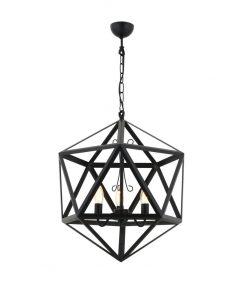 Kreatívne závesné svietidlo PETRA v tvare mnohouholníka, 45cm, čierna farba