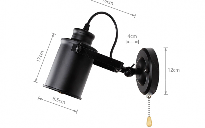 Retro nástenné svietidlo Reflector v čiernej farbe s retiazkovým spínačom 670x420 - Retro nástenné svietidlo Reflector v čiernej farbe s retiazkovým spínačom