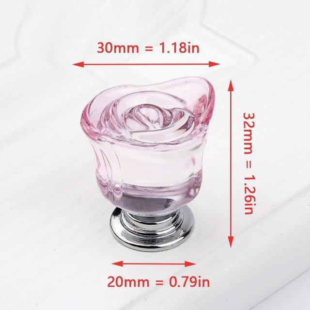 Sklenený úchyt na dvierka alebo zásuvku v tvare ruže vo farbách 1 - Sklenený úchyt na dvierka alebo zásuvku v tvare ruže vo farbách
