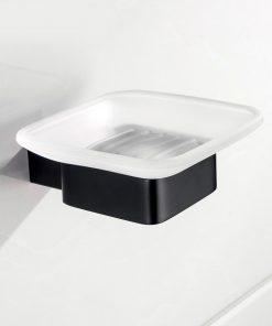 Kvalitný oceľový čierny držiak na mydlo so sklenou miskou