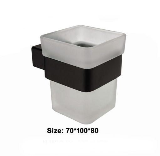 Kvalitný oceľový čierny držiak na zubné kefky so skleným pohárom