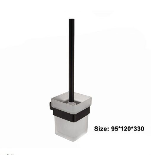 Kvalitný oceľový čierny držiak so sklenou miskou na WC kefu