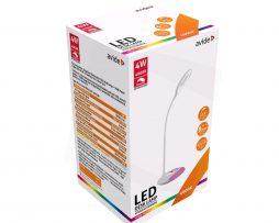 Stolná LED RGB lampa s flexibilným ramenom, 4W, 240lm, biela farba (1)