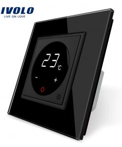 Dotykový digitálny termostat s možnosťou ovládania elektrických vykurovacích okruhov v čiernej farbe
