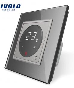Dotykový digitálny termostat s možnosťou ovládania elektrických vykurovacích okruhov v striebornej farbe