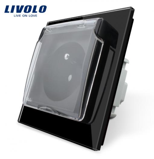Luxusná exteriérová zásuvka s ochranným kolíkom a krytkou v čiernej farbe