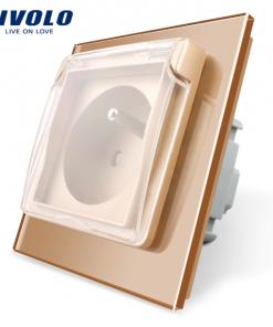 Luxusná exteriérová zásuvka s ochranným kolíkom a krytkou v zlatej farbe