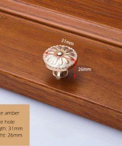 Dekoračná vintageretro kľučka na nábytok - zlato-perlová, 3126mm