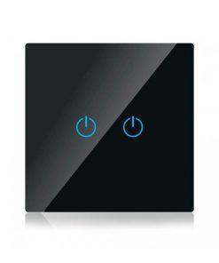 Dotykový SMART vypínač WIFI kompatibilný s AMAZON ALEXA + GOOGLE HOME, 2-tlačidlový, čierny..