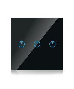 Dotykový SMART vypínač WIFI kompatibilný s AMAZON ALEXA + GOOGLE HOME, 3-tlačidlový, čierny