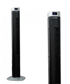 Elegantný stĺpový ventilátor V-TAC s ukazovateľom teploty a ďialkovým ovládaním, 120cm, 55W, Čierna farba..