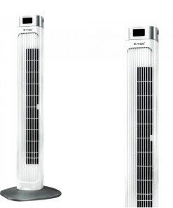 Elegantný stĺpový ventilátor V-TAC s ukazovateľom teploty a ďialkovým ovládaním, 90cm, 55W, Biela farba
