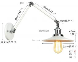 Historická nástenná lampa Alton v bielej farbe (3)