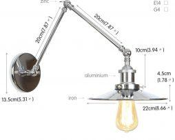 Historická nástenná lampa Alton v striebornej farbe (1)